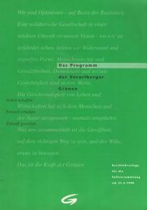Das Programm der Vorarlberger Grünen. Beschlussvorlage für die Vollversammlung am 23.4.1998 (Grünes Archiv).