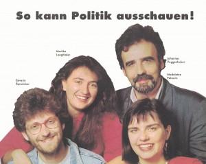 Severin Renoldner, Monika Langthaler, Johannes Voggenhuber und Madeleine Petrovic kandidierten 1990 auf der Bundesliste. Foto: UrheberIn nicht angegeben