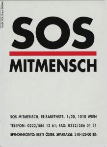 SOS Mitmensch Aufkleber. In: Konvolut von Werbe- und Informationsmaterial zum Lichtermeer. Wienbibliothek, Druckschriftensammlung, C-220652