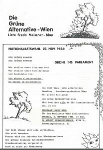 Einladung zur KandidatInnenwahl für den Wiener Wahlkreis (Grünes Archiv, Archiv Gerhard Jordan)