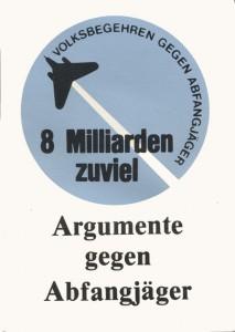 "Titelblatt der Broschüre ""Argumente gegen Abfangjäger"", 1985"