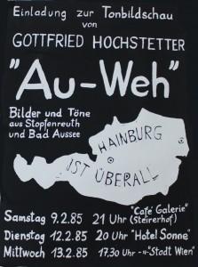 """Plakat zur Tonbildschau """"Au-Weh"""" von Gottfried Hochstetter (Grünes Archiv, Sammlung Gottfried Hochstetter). Photo: Ines Handler"""