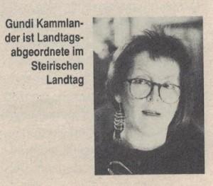 Gundi Kammlander in Impuls Grün 22/1990. UrheberIn: unbekannt.