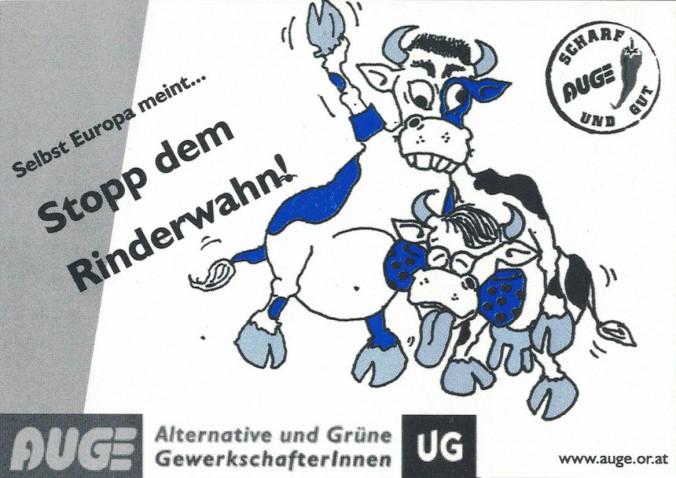 Aufkleber der AUGE/UG zur schwarz-blauen Koalition in Österreich.