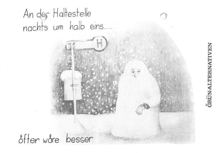Postkarte: Person wartet im Schneetreiben an Bushaltestelle, schaut auf die Uhr und ist schon ganz eingefroren.