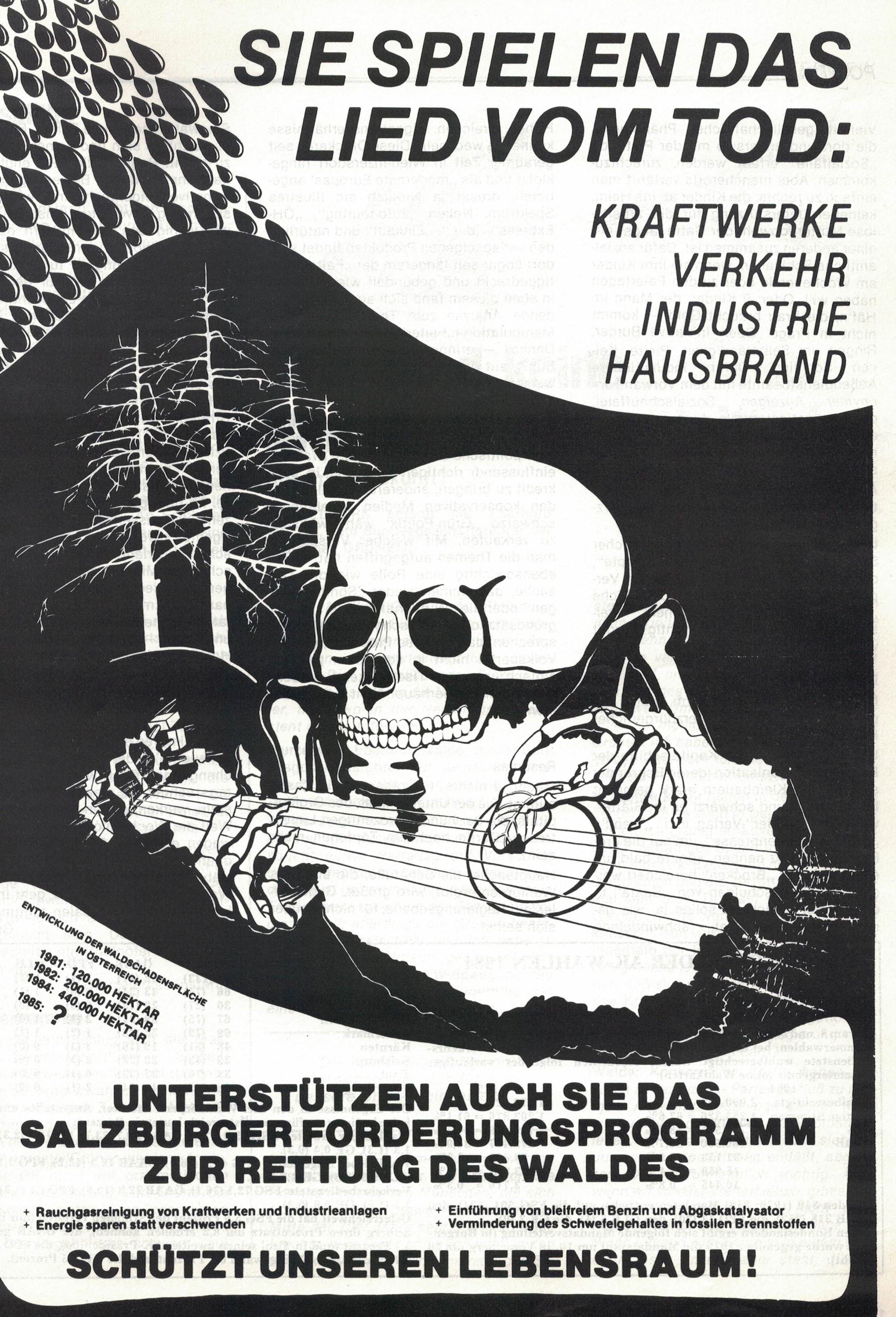 Waldsterben. Sie spielen das Lied vom Tod: Kraftwerke, Verkehr, Industrie, Hausbrand.