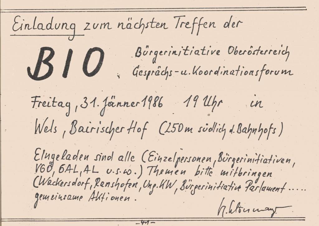 Einladung zur Bürgerinitiative Oberösterreich (Grünes Archiv)