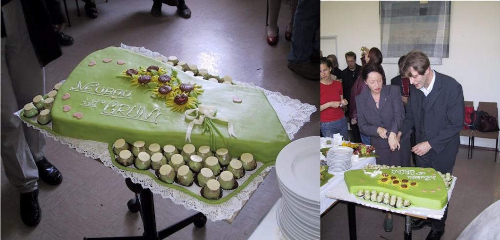 Torte mit grüner Glasur, Bezirksvorsteher Thomas Blimlinger und Madeleine Reiser schneiden Torte an