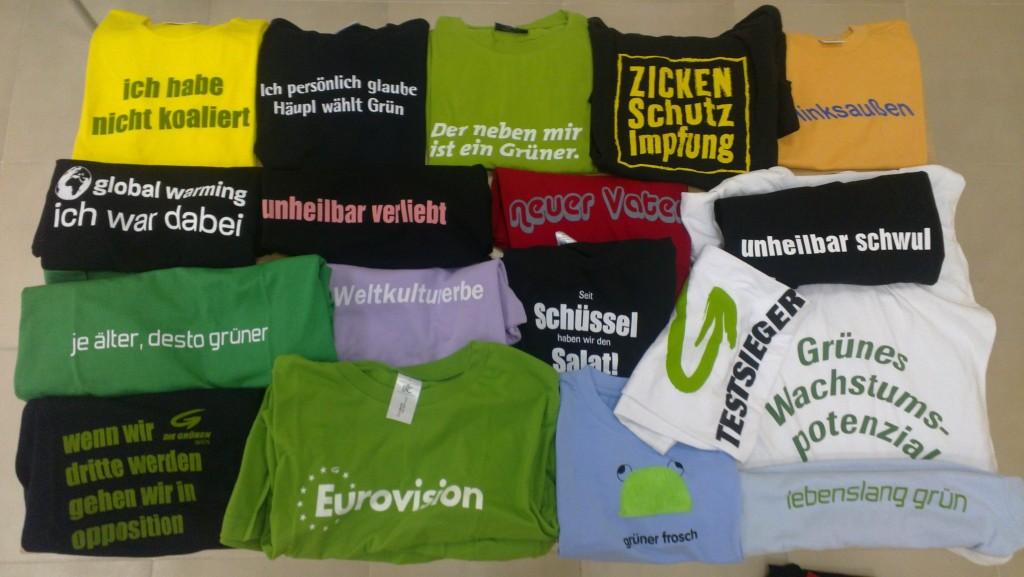 eine kleine Auswahl an Grünzeux-T-Shirts aus dem Grünen Archiv. Bild: Monika Bargmann, CC-BY