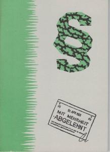 """Titelblatt der Broschüre """"Mit Mehrheit abgelehnt""""(Grünes Archiv)"""
