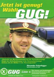 Der Folder der GUG mit Alexander Scharfegger.