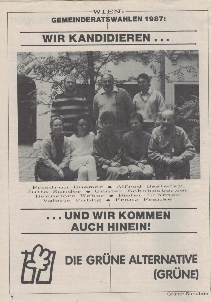 Friedrun Huemer, Alfred Bastecky, Jutta Sander, Günter Schobesberger, Hannelore Weber, Dieter Schrage, Valerie Publig und Franz Franke (1987)