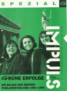 """Madeleine Petrovic, Marijana Grandits und Monika Langthaler auf der Titelseite von """"Impuls Grün"""" (Grünes Archiv)."""