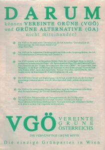 Darum können Vereinte Grüne und Grüne Alternative nicht miteinander! Zeitschrift der VGÖ (Grünes Archiv)