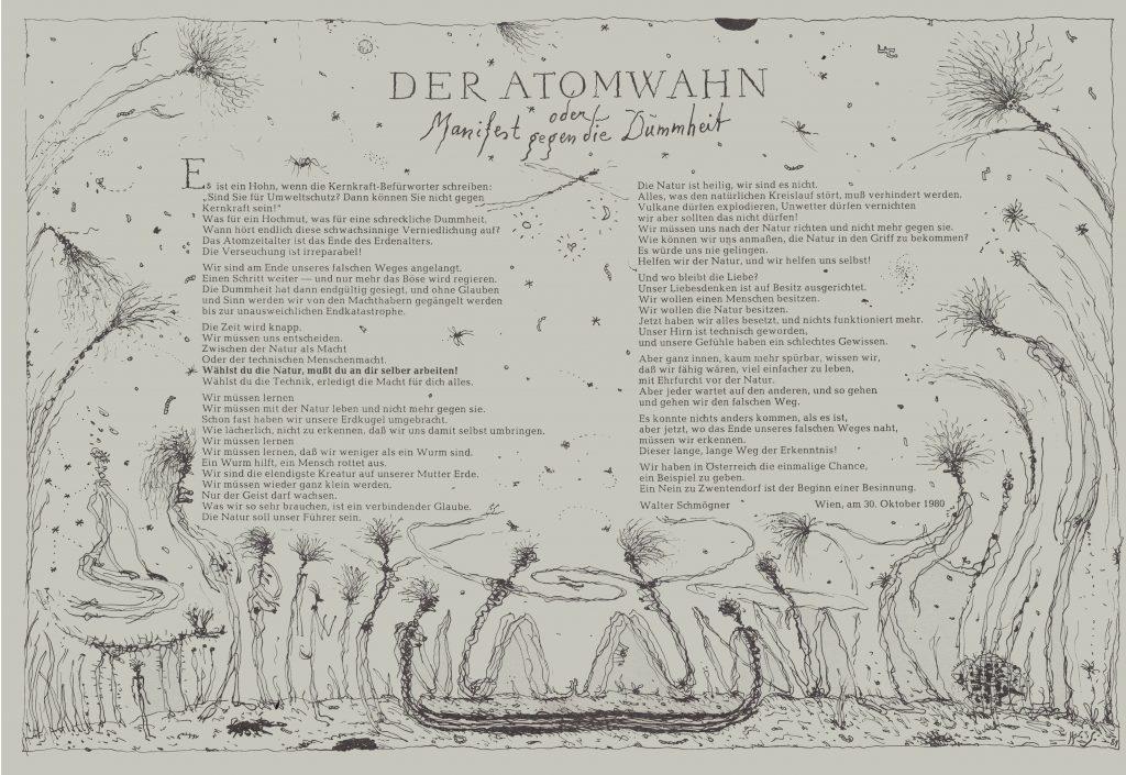 Der Atomwahn. Ein Manifest (1981). Mit freundlicher Genehmigung von Walter Schmögner