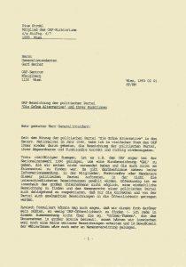 Schreiben von Pius Strobl an Gerd Bacher (1993).