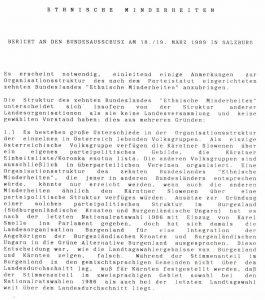 Bericht des Zehnten Bundeslandes 1989