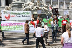 Kundgebung für ein faireres und ökologischeres Fördersystem.