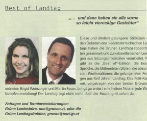 """Brigid Weinzinger und Martin Fasan boten im Jahr 2003 ein """"best of Landtag""""."""