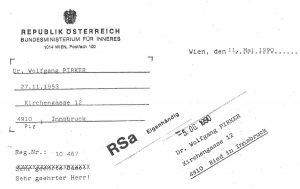 Das Schreiben des Innenministeriums an Wolfgang Pirker.