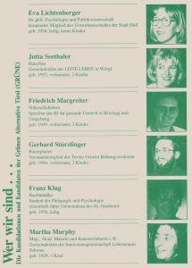 Kandidatinnen und Kandidaten der Grünen Alternative Tirol.