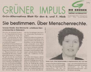 Dass Terezija Stoisits sich nicht erst als Volksanwältin für die Menschenrechte eingesetzt hat, zeigt dieser Artikel aus dem Jahr 1994.