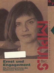Madeleine Petrovic am Cover von Impuls Grün.