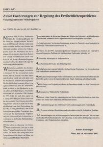 """Forderungen zur Regelung des Freiheitlichenproblems, abgedruckt in """"Die Insel"""" 1/1993."""