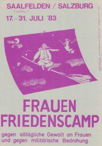 Einladung zum Frauenfriedenscamp in Saalfelden (1983)