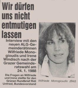 Wilfriede Monogioudis und Irene Windisch im Gespräch.