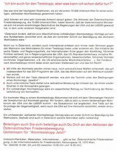 Aktionen der österreichischen Friedensbewegung für den Atomteststopp.