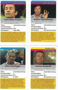 Zur Nationalratswahl 2013 wurde das Schüssel-Quartett aufgelegt: hier die Herren KHG, Meischberger, Hochegger und Rumpold.