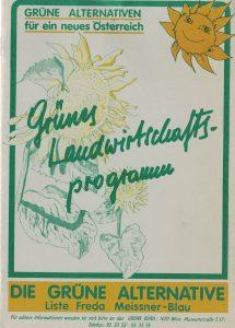 Grünes Landwirtschaftsprogramm der Liste Freda Meissner-Blau.