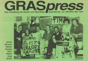 Vorstellung der Grünen und Alternativen StudentInnen (GRAS) zur ÖH-Wahl 1993.