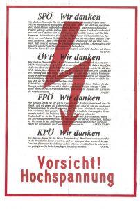 Vorsicht! Hochspannung. Dieses Plakat hätte bei einem Ja zu Zwentendorf plakatiert werden sollen.
