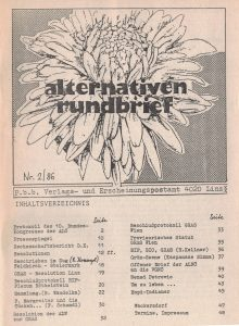 Der offene Brief erschien im Alternativenrundbrief 2/1986.