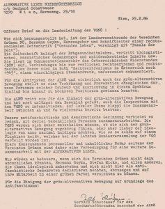 Offener Brief der Alternativen Liste Niederösterreich.