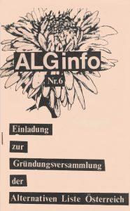 Einladung zur Gründungsversammlung der Alternativen Liste Österreichs in Graz.