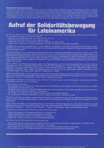 Aufruf der Solidaritätsbewegung für Lateinamerika.
