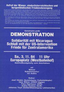 Der Aufruf zur Demonstration für Nicaragua erschien als Beilage zur Netzwerkzeitung 8/1984.