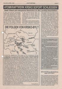 Die Forderung nach einer Resolution gegen das AKW Krško erschien in der Statt-Zeitung 2/1992.