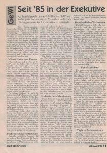 Selbstdarstellung der BaGru GeWi vom Frühjahr 1993.