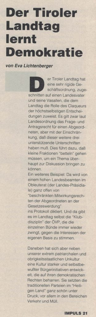 Eva Lichtenberger über die Arbeit im Tiroler Landtag.