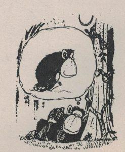 Träumender Affe. Illustration aus dem Artikel über die Rückbesinnung zu den Wurzeln der netzwerk-Zeitung.