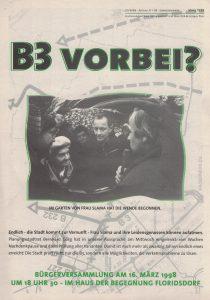 B3 vorbei? Flugblatt der Floridsdorfer Grünen (Grünes Archiv, Archiv Gerhard Jordan)