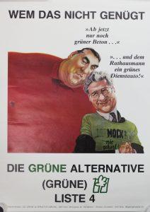 Grüner Beton und grünes Dienstauto.