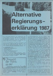 Alternative Regierungserklärung der Grünen Alternative 1987